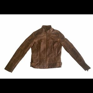 J2 Distressed Faux Leather Jacket Small